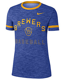 Nike Women's Milwaukee Brewers Slub Crew Ringer T-Shirt