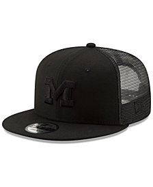 New Era Michigan Wolverines Black on Black Meshback Snapback Cap