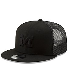 New Era Michigan Wolverines Black on Black Meshback Snapback Cap