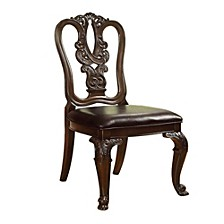 Traditional Wooden Carving Side Chair - Set Of 2