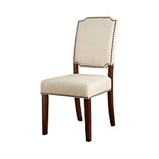Wooden Side Chair with Padded Ivory Seat - Set Of 2