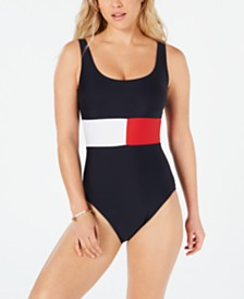 Tommy Hilfiger Iconic Logo Color-Blocked One-Piece Swimsuit