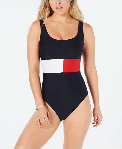 57ea114d7 Tommy Hilfiger Iconic Color-Blocked One-Piece Swimsuit & Reviews ...