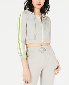 Waisted Reflective-Trim Cropped Zip-Up Hoodie
