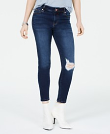 Celebrity Pink Juniors' Ripped Cropped Skinny Jeans