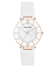 Anne Klein Women's White Leather Strap Watch 32mm