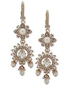 Marchesa Gold-Tone Crystal & Stone Flower Double Drop Earrings