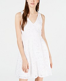 Juniors' Laser Cut Lace Fit & Flare Dress