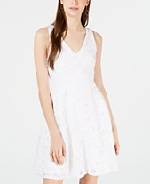 1a0de9264a978 Crystal Doll Juniors' Laser Cut Lace Fit & Flare Dress