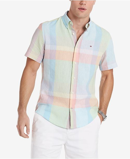 b7cd567098d ... Shirt  Tommy Hilfiger Men s Caldwell Custom-Fit Pastel Plaid ...