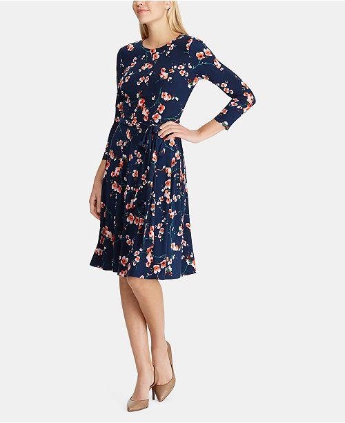 04e7c6eb306 Lauren Ralph Lauren Belted Floral Jersey Dress & Reviews - Dresses ...