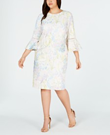 Calvin Klein Plus Size Printed Bell-Sleeve Sheath Dress
