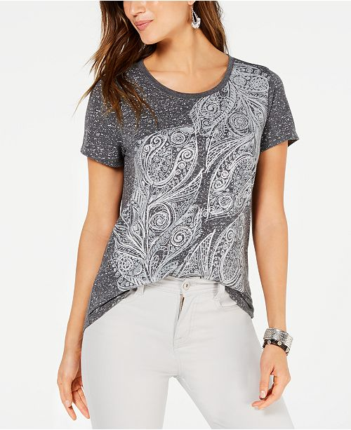 Style & Co Petite Feathers Graphic-Print T-Shirt, Created for Macy's