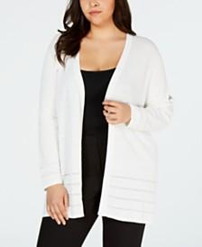 Calvin Klein Plus Size Shadow Stripe Open-Front Cardigan