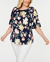 18579c1566bcf5 Charter Club Plus Size Printed Flutter-Sleeve Top, Created for Macy's