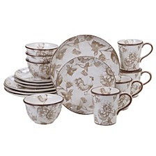 Toile Rooster 16-Pc Dinnerware Set