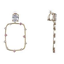 Nina Round Rectangle Clip-on Earringss