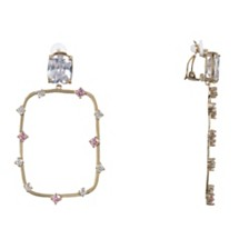 Nina Round Rectangle Clip-on Earringss