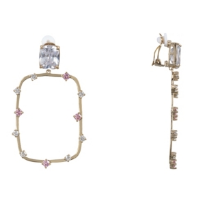 Nina Accessories ROUND RECTANGLE CLIP-ON EARRINGSS