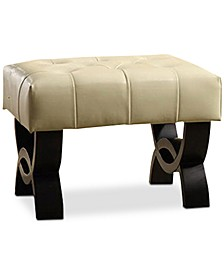 """Central Park 24"""" Tufted Bonded Leather Ottoman"""