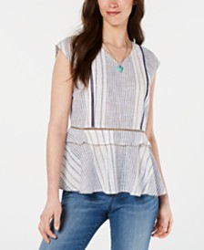 Style & Co Printed Peplum-Hem Top, Created for Macy's