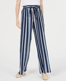 BCX Juniors' Striped Ruffle-Waist Soft Pants