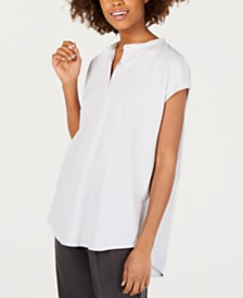 Eileen Fisher Organic Cotton Short-Sleeve Mandarin-Collar Tunic, Regular & Petite