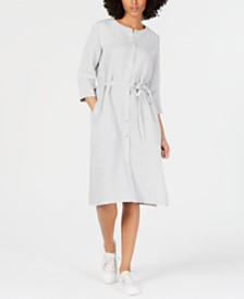 Eileen Fisher Organic Linen Belted Shirtdress