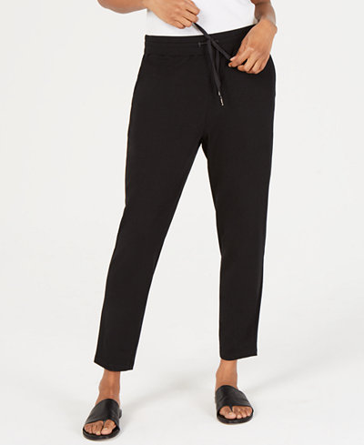 Eileen Fisher Slouchy Drawstring Cotton Ankle Pants