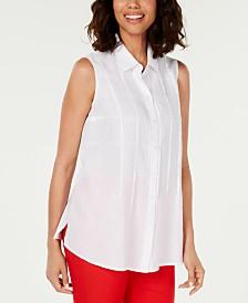 Charter Club Petite Woven Linen Sleeveless Shirt, Created for Macy's