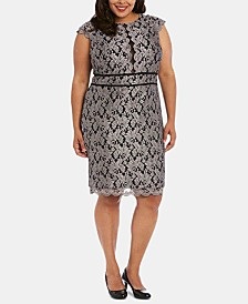 Nightway Plus Size Glitter Lace Sheath Dress