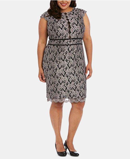 fe597a1ede7 Nightway Plus Size Glitter Lace Sheath Dress - Dresses - Women - Macy s