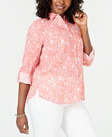 Charter Club Printed Linen Roll-Tab-Sleeve Shirt, Created for Macy's