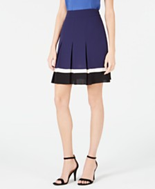 Anne Klein Pleated Colorblocked Skirt