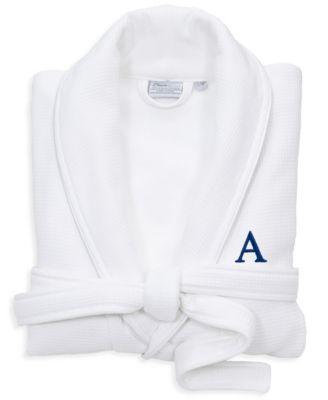 Personalized 100% Turkish Cotton Waffle Terry Bathrobe with Satin Piped Trim - White