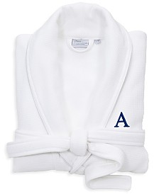 Linum Home Personalized 100% Turkish Cotton Waffle Terry Bathrobe with Satin Piped Trim Collection