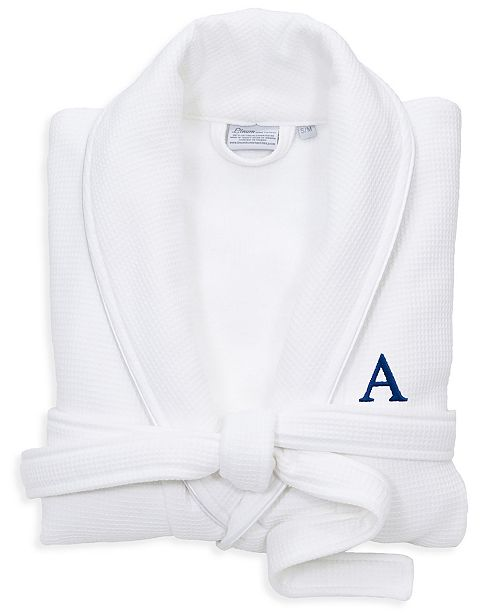 Linum Home Personalized 100% Turkish Cotton Waffle Terry Bathrobe with Satin Piped Trim - White