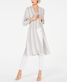 I.N.C. Striped Metallic Duster Cardigan, Created for Macy's