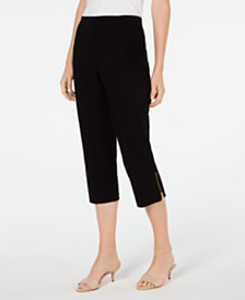 JM Collection Studded Zipper-Hem Cropped Pants, Created for Macy's