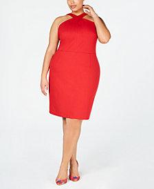 I.N.C. Plus Size Crisscross Halter-Neck Dress, Created for Macy's