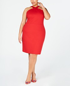 I.N.C. Plus Size Crisscross Halter-Neck Dress, Created for Macy's