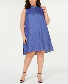 Anne Klein Plus Size Button-Front Shift Dress