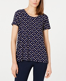 Anne Klein Dot-Print High-Low Top