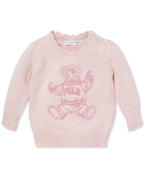 Polo Ralph Lauren Baby Girls Polo Bear Cotton Sweater