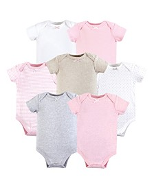 Hudson Baby Unisex Baby Cotton Bodysuits, Girl Basics 7-Pack, 0-24 Months