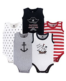 Hudson Baby Unisex Baby Sleeveless Cotton Bodysuits, 5-Pack, 12-24 Months