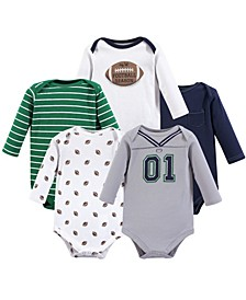 Unisex Baby Cotton Bodysuits, Long-Sleeve 5-Pack, 0-24 Months