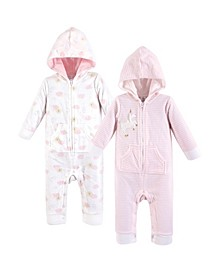 Baby Vision 0-24 Months Unisex Baby Fleece Union Suit/Coveralls and Sleep and Play, Unicorn Fleece Coverall 2-Pack