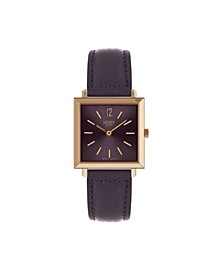 Heritage Square Rose Gold Stainless Steel Case Purple Dial and Purple Leather Strap