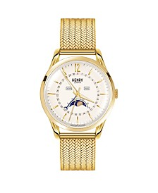 Henry London Westminster Unisex 39mm Gold Stainless Steel Mesh Bracelet Watch with Gold Stainless Steel Casing